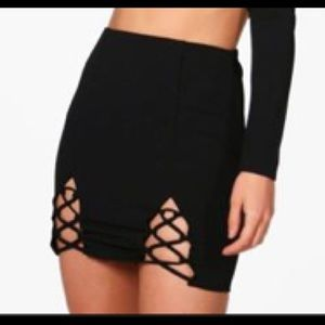 Brand new lace up front mini skirt